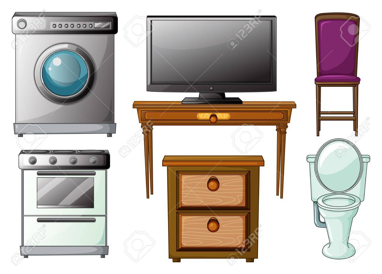 Illustration of house appliances and furnitures on a white background Stock Vector - 17358153