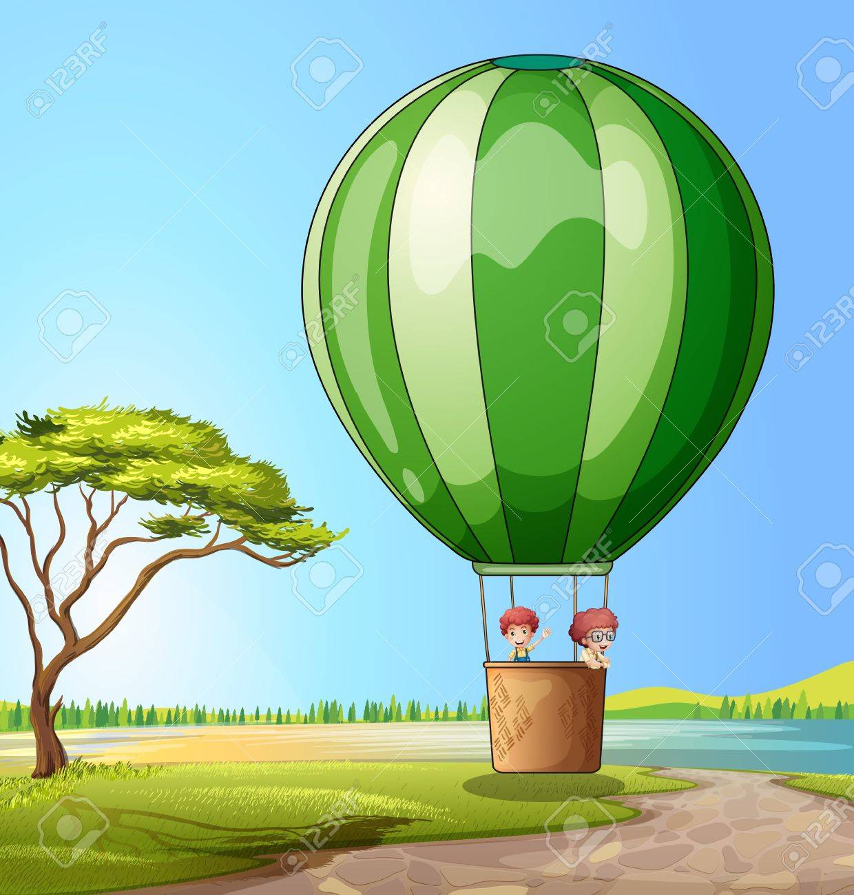 Illustration of a hot air balloon with two boys Stock Vector - 17358286