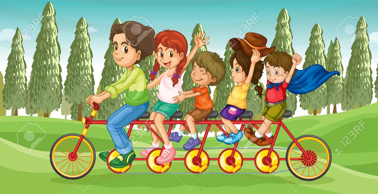 Illustration of an everybody's bike with children Stock Vector - 17358201