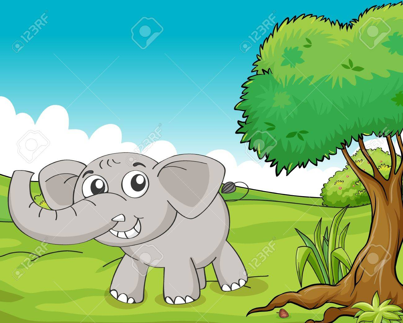 Illustration of a little gray elephant in the woods Stock Vector - 17358084