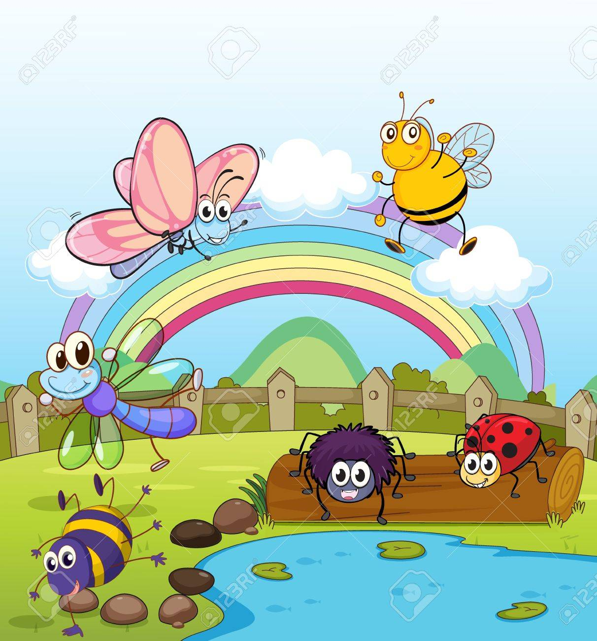 Illustration of colorful insects and rainbow Stock Vector - 17358074