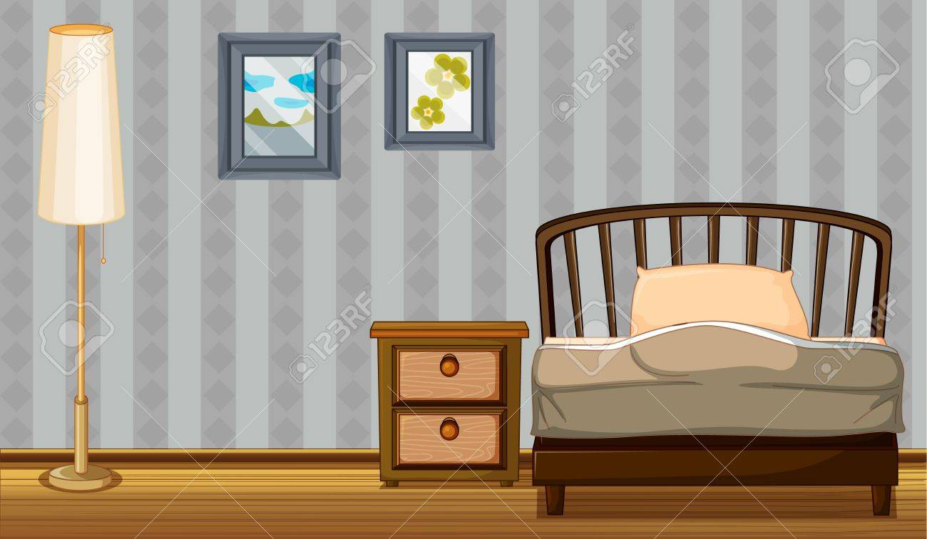 Illustration of a bed and a lamp in a room Stock Vector - 17358210