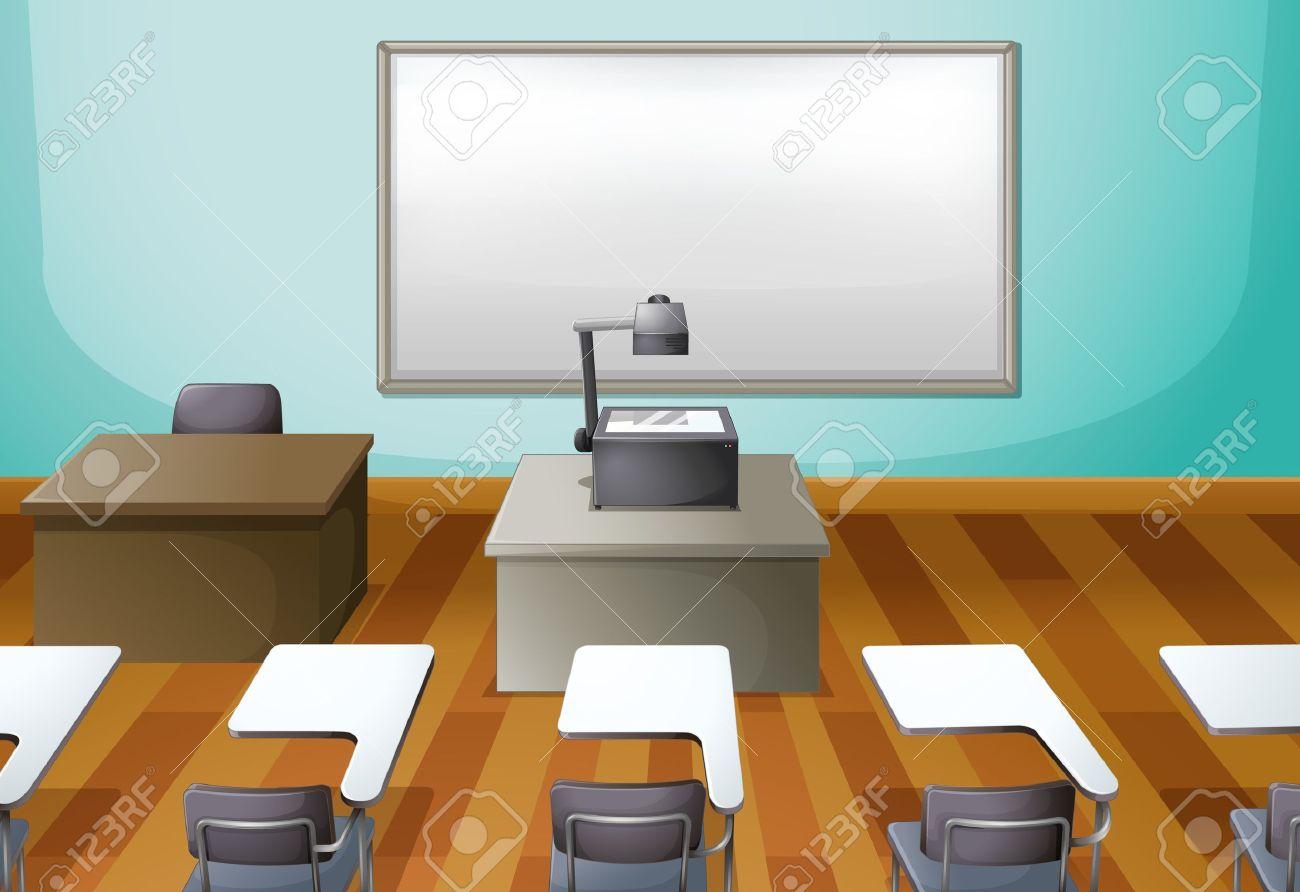 Empty cartoon classroom background -