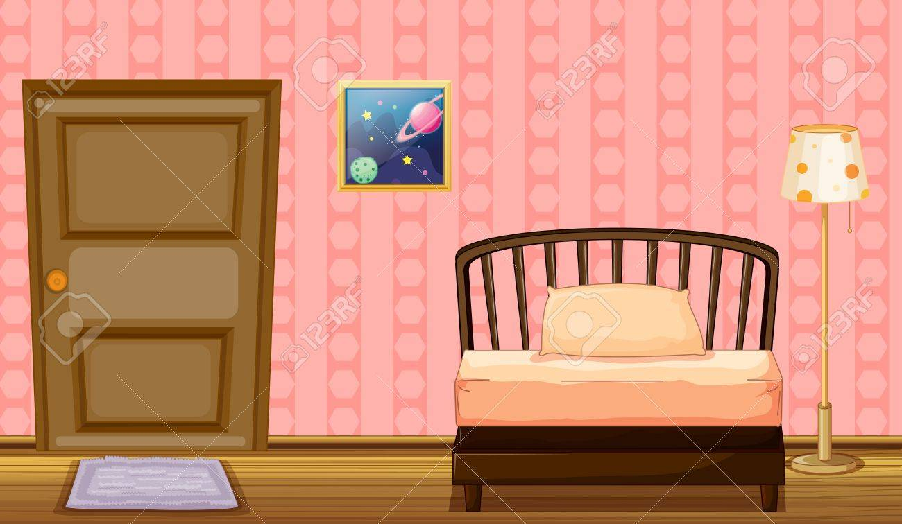 Illustration of a bed and a lamp in a room Stock Vector - 17358178