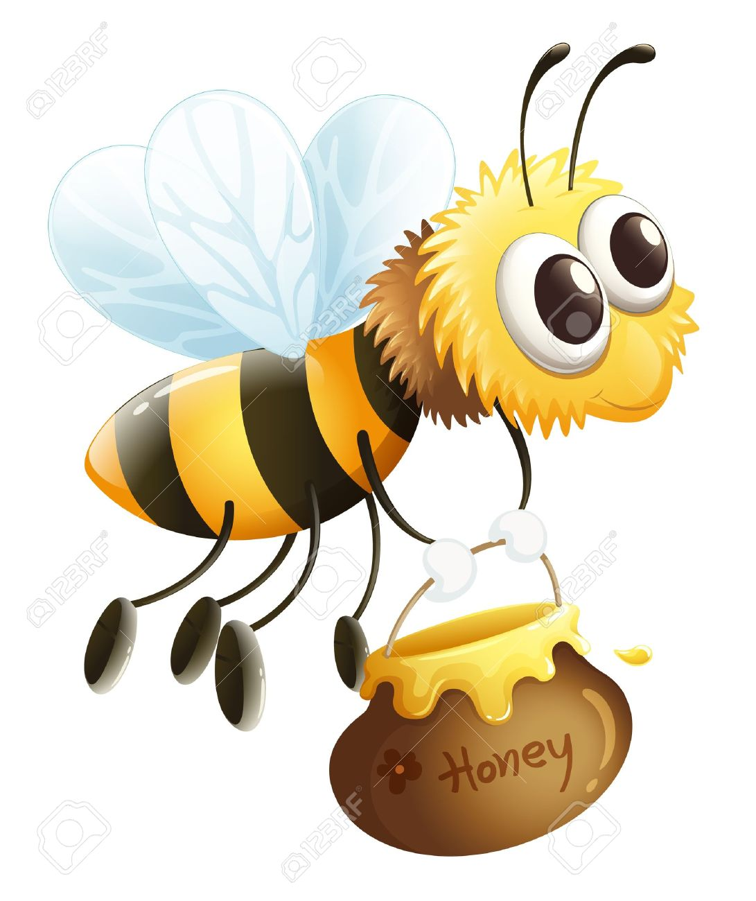 Illustration of a bee carrying a honey on a white background Stock Vector - 17358196