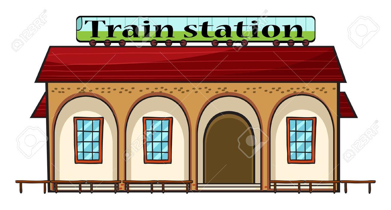 白い背景の上の鉄道駅のイラスト ロイヤリティフリークリップアート