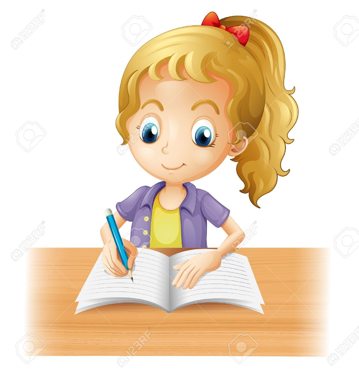 illustration of a long haired girl writing on a white background rh 123rf com boy and girl writing clipart little girl writing clipart