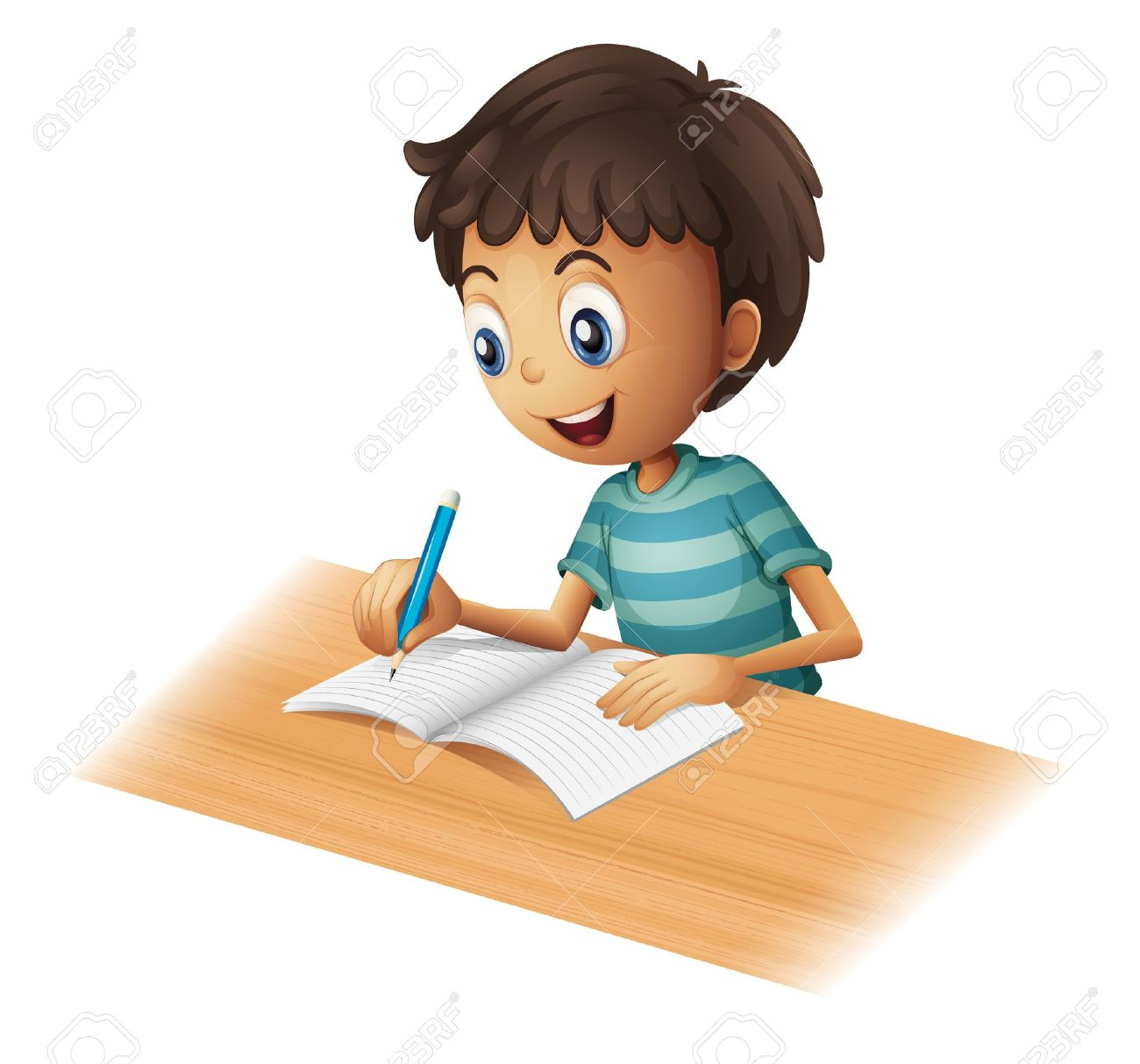 Illustration of a boy writing on a white background - 17358292