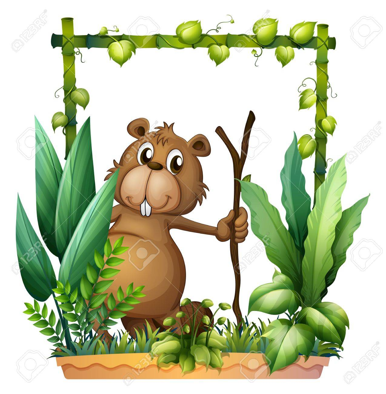 Illustration of a beaver holding a wood on a white background Stock Vector - 17411139