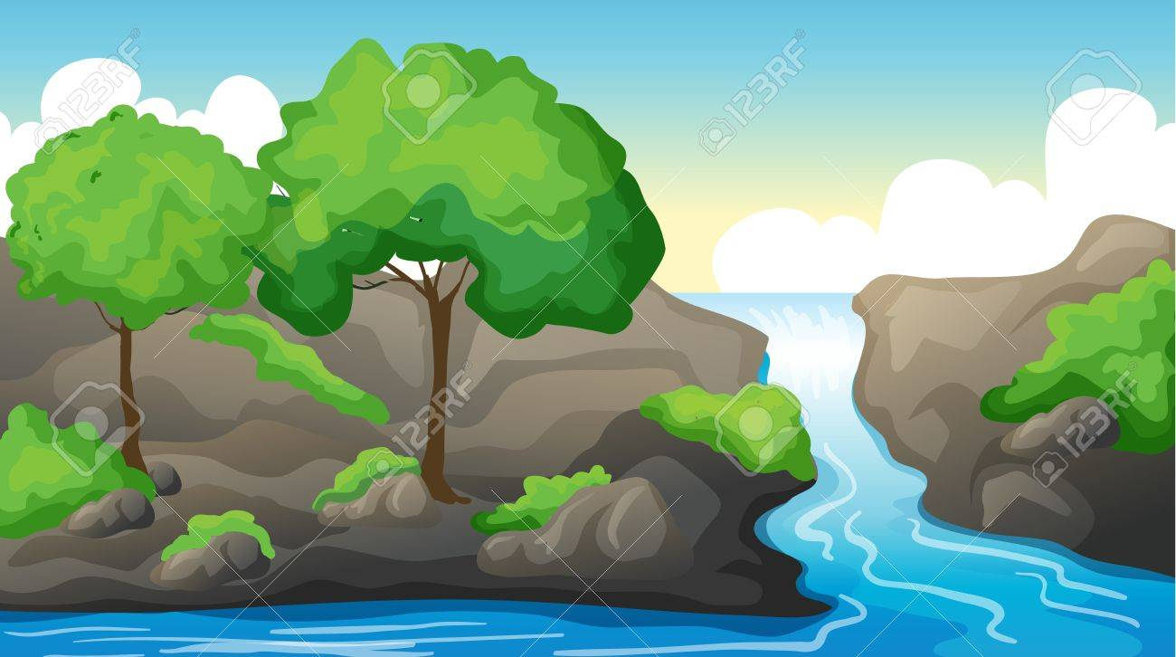 Illustration of a river and a beautiful landscape Stock Vector - 17443537