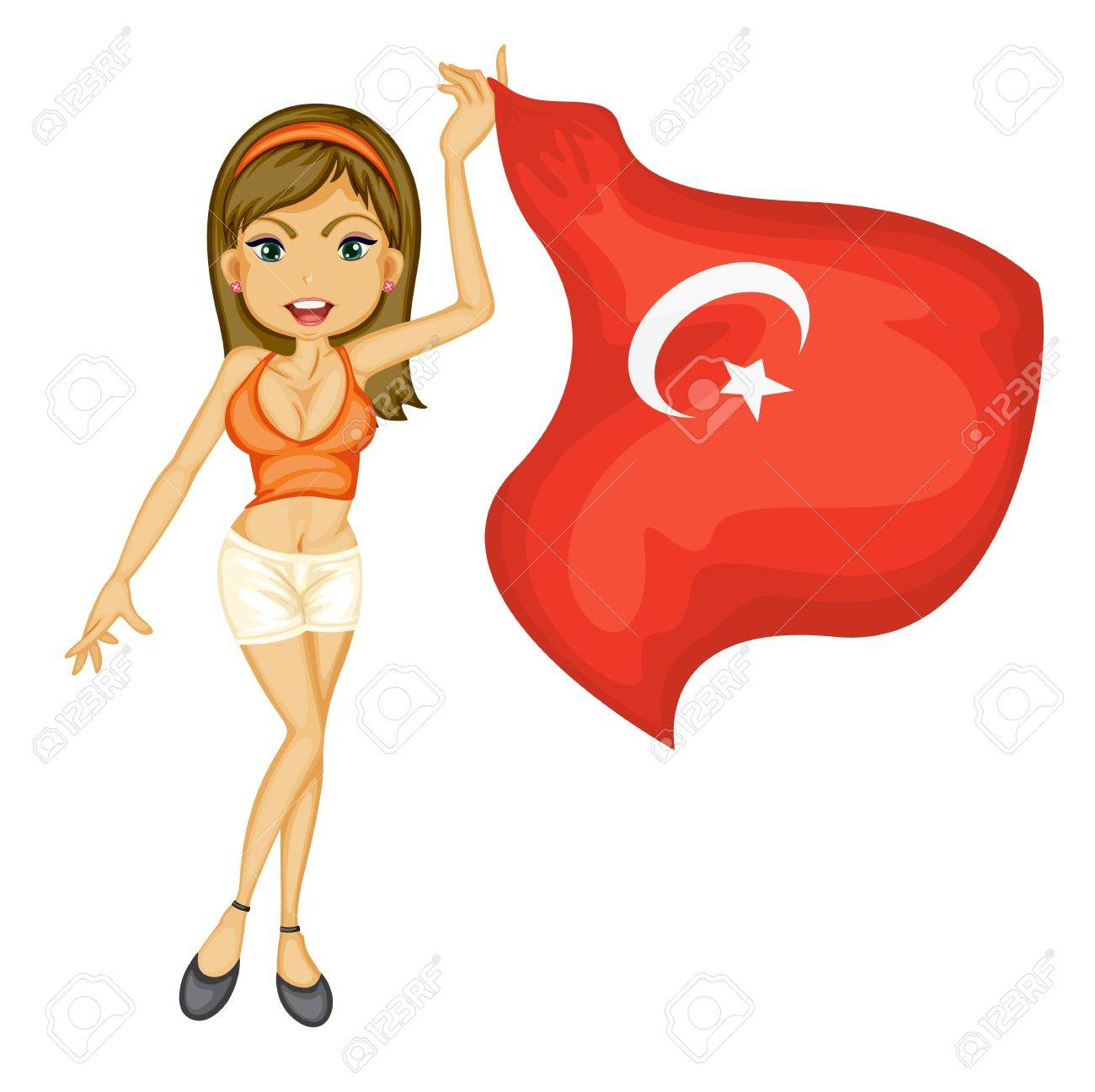 Illustration of a smiling girl with a national flag of turkey on a white background Stock Vector - 17442821