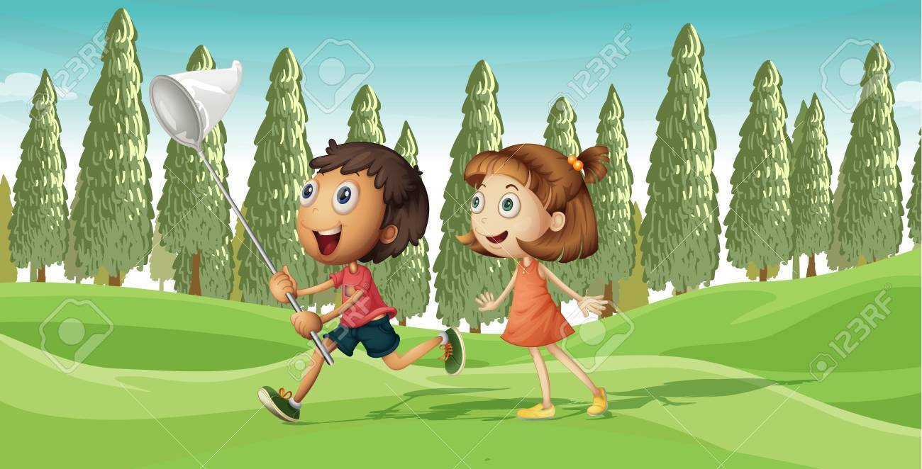 Illustration of a running boy and a girl with net Stock Vector - 17443620