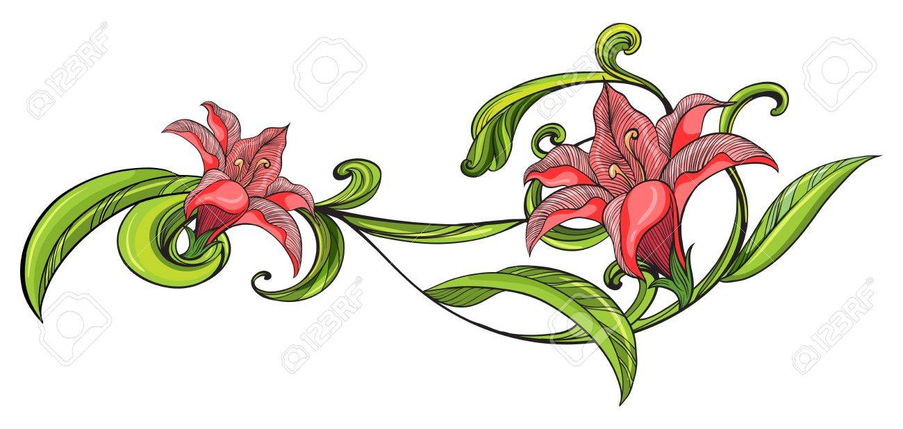Illustration of a vine flower border on a white background Stock Vector - 17442890