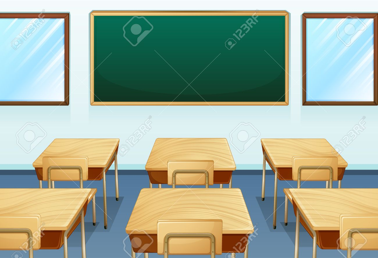 Empty cartoon classroom background - Classroom Cartoon Illustration Of An Empty Room