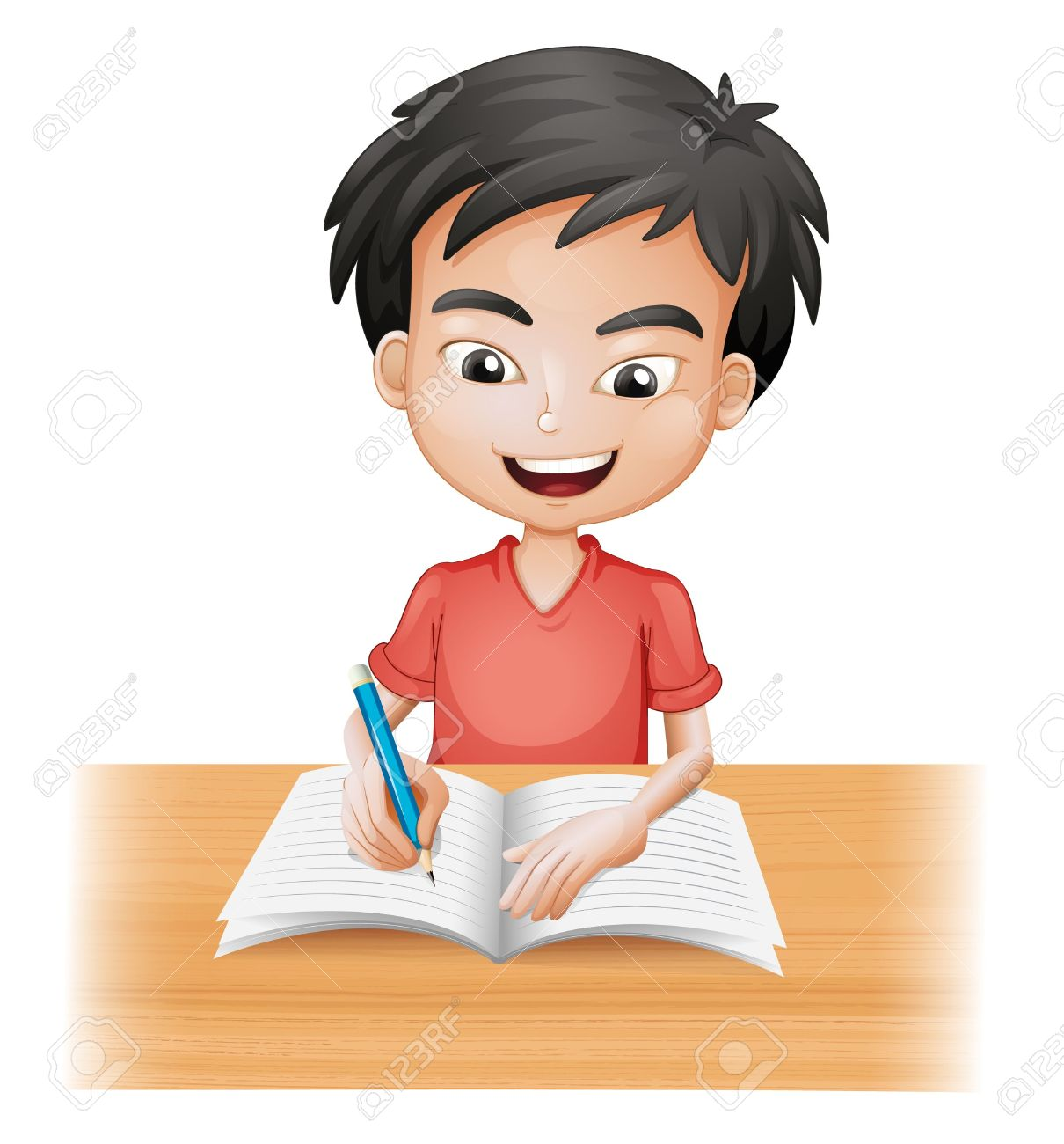 Illustration of a smiling boy writing on a white background - 17443650