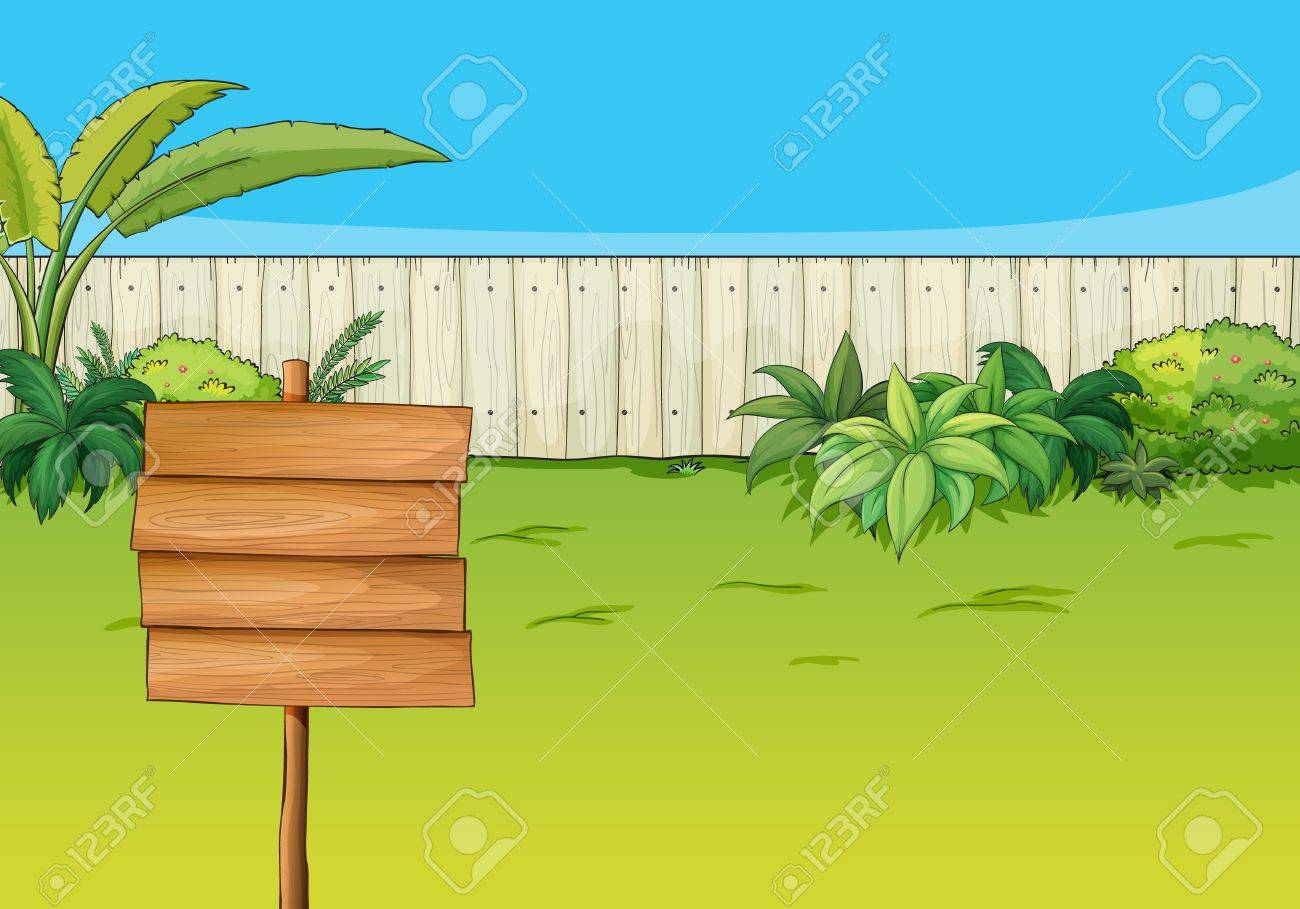 Illustration of an empty signboard in the garden Stock Vector - 17443572