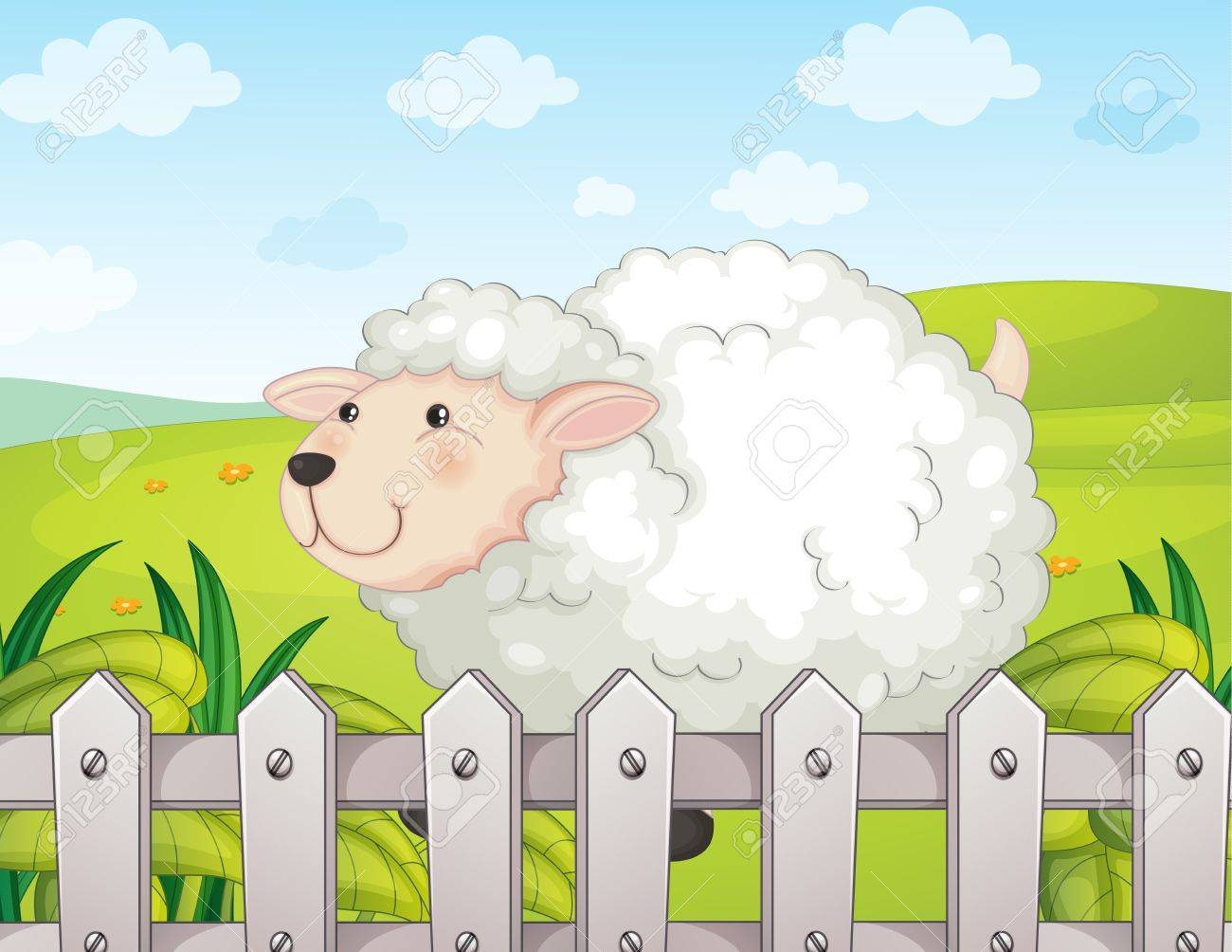 Illustration of a smiling sheep Stock Vector - 17442953