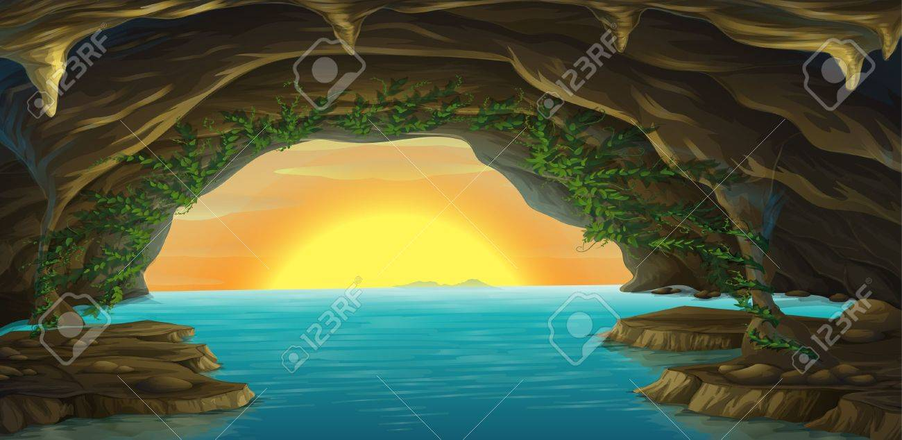 Illustration of a cave and a water in a beautiful nature - 17443573