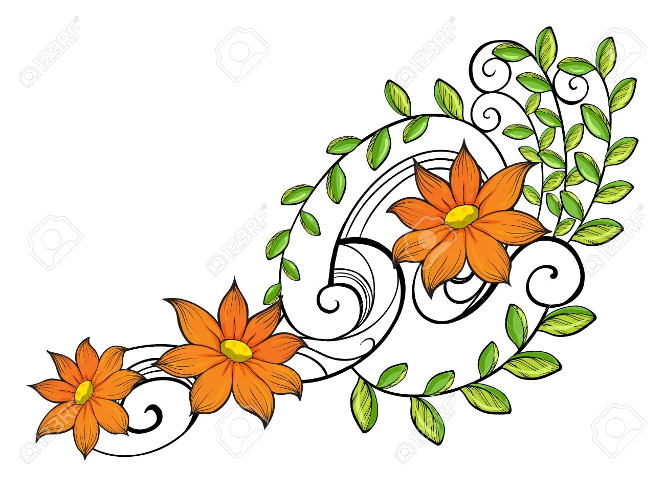 illustration of a border made of vine flowers on a white background rh 123rf com Snoopy Autumn Clip Art Autumn Background Clip Art