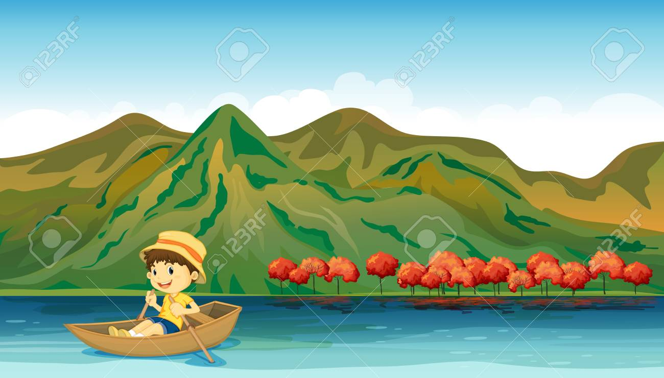 Illustration of a river and a smiling boy in a boat Stock Vector - 17477490