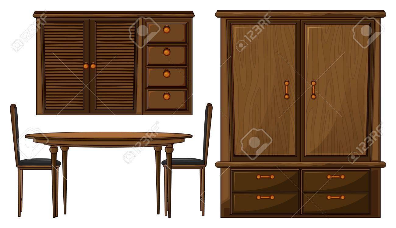 Ilustración de una mesa de comedor y un armario en un fondo blanco