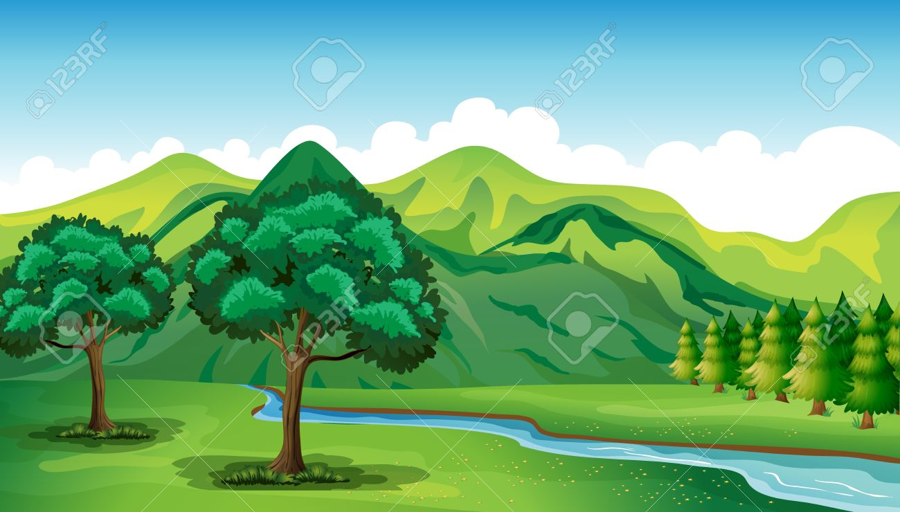 Illustration of a river and a beautiful landscape - 17477478