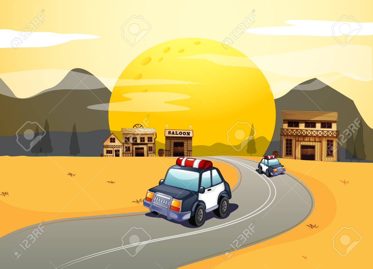 Illustration of vehicles in the road Stock Vector - 17521689