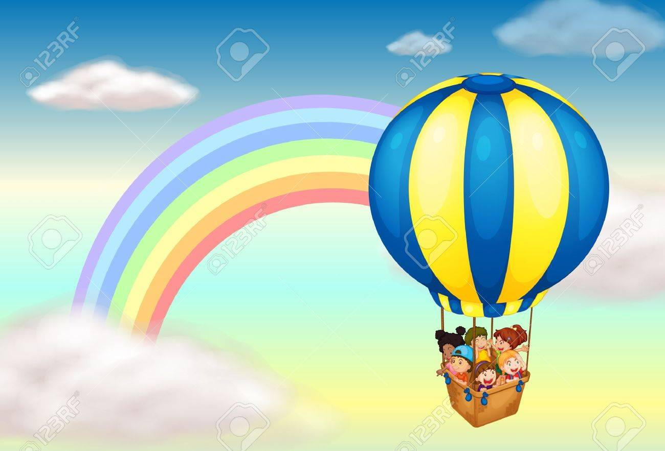 Illustration of a hot air balloon near the rainbow Stock Vector - 17521891
