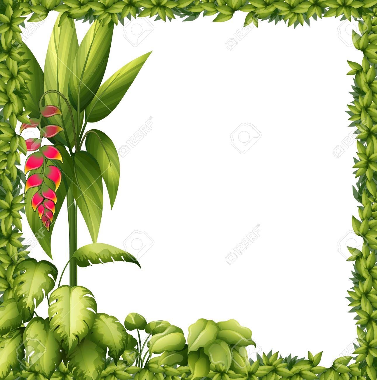 illustration of a green frame with a flower on a white background stock vector 17524626