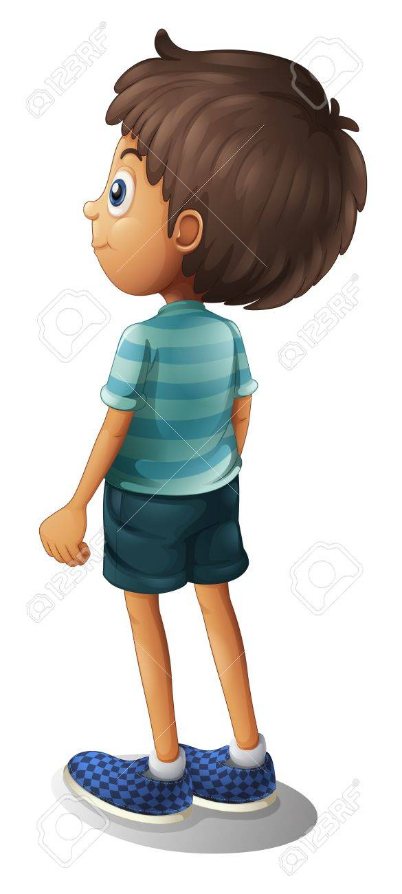 Illustration of a back of a young boy on a white background Stock Vector - 17521866