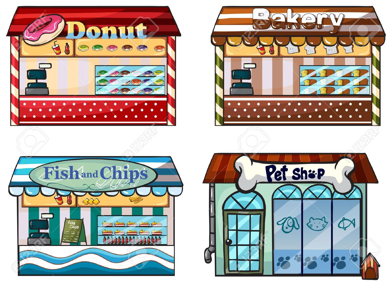 Illustration of a donut store, bakery, fish and chips store and a pet shop on a white background Stock Vector - 17521864
