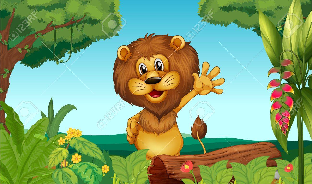 Illustration of a happy lion in the forest Stock Vector - 17522003
