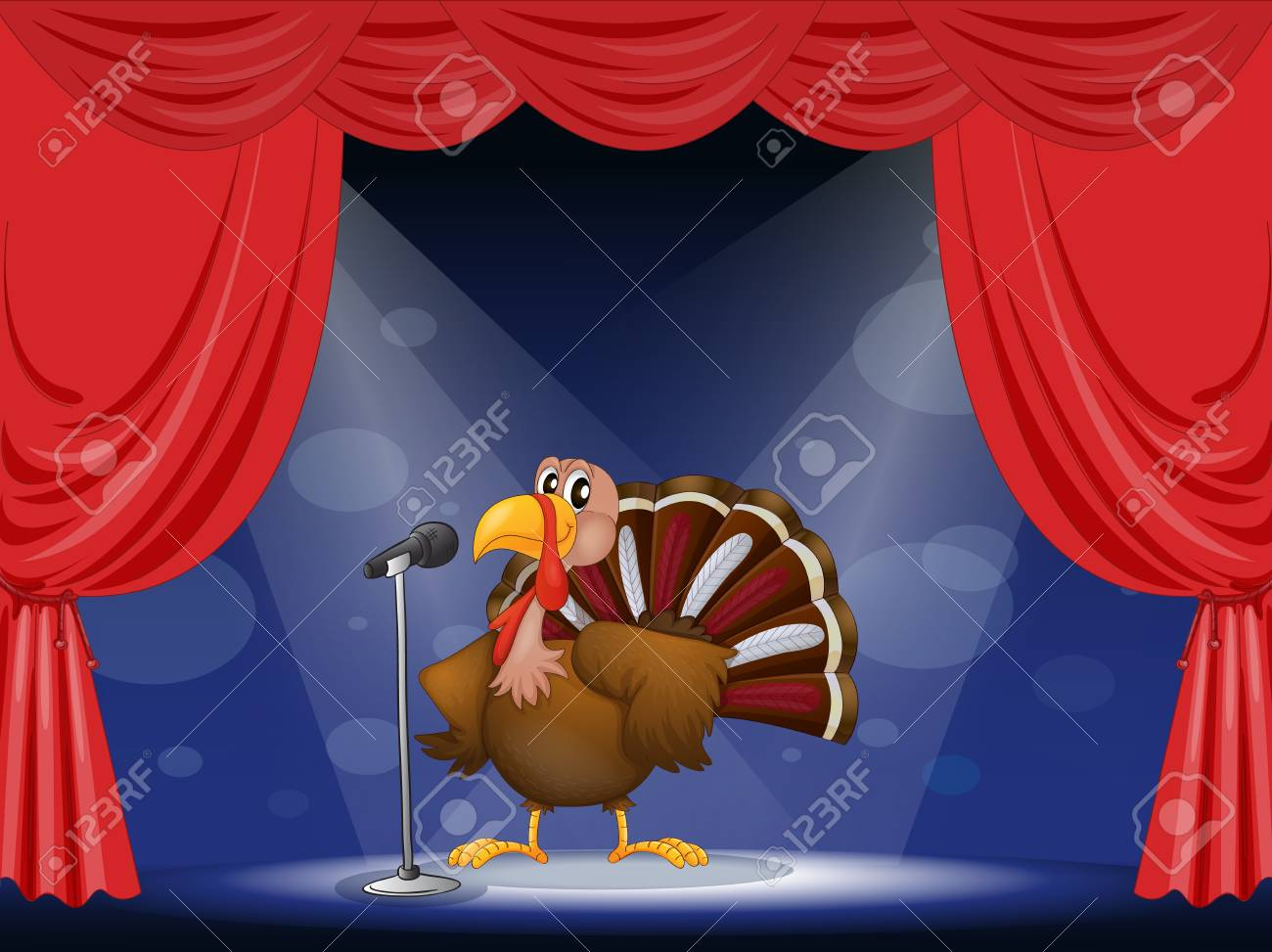 Illustration of a turkey in the center of a stage Stock Vector - 17524744