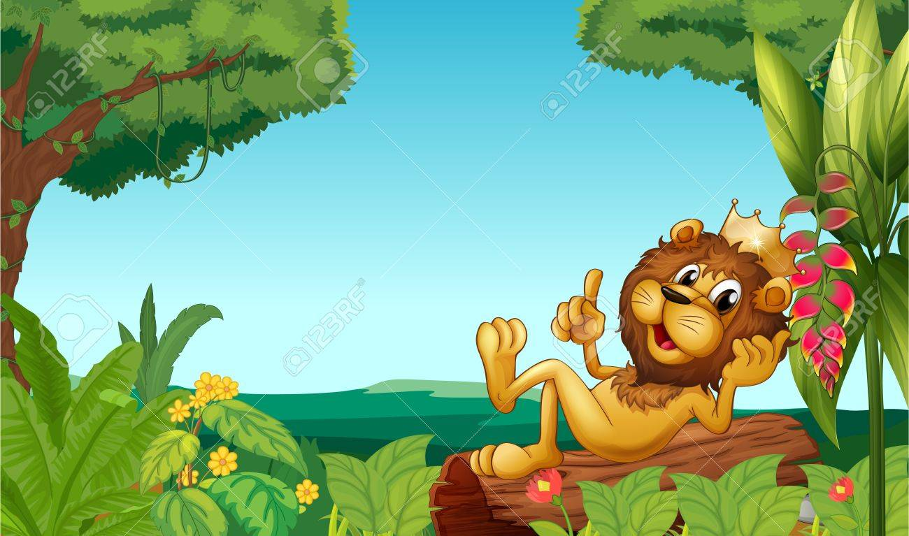 Illustration of a king lion in the forest Stock Vector - 17521996
