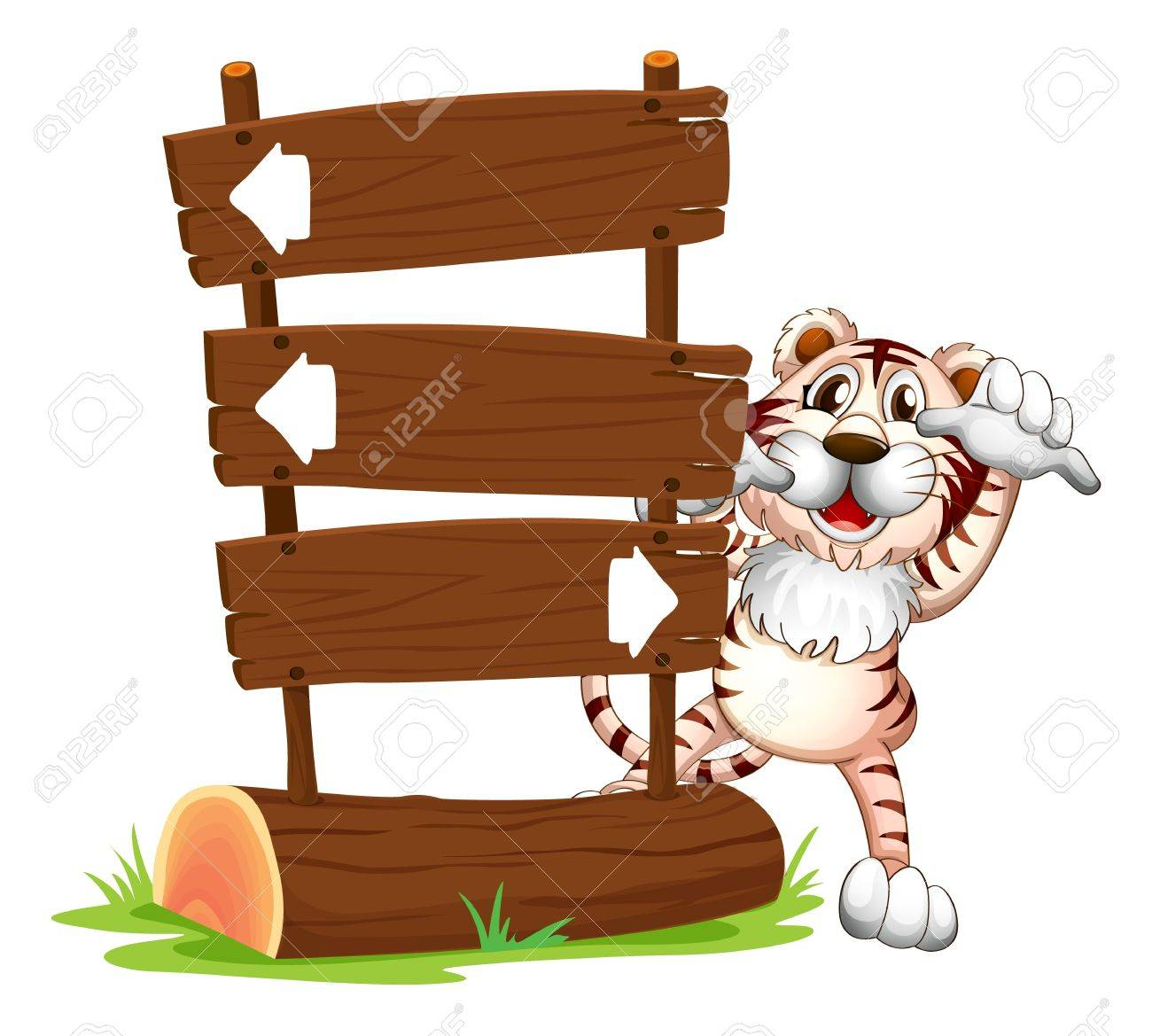 Illustration of a tiger hiding at the back of a signboard Stock Vector - 17521587