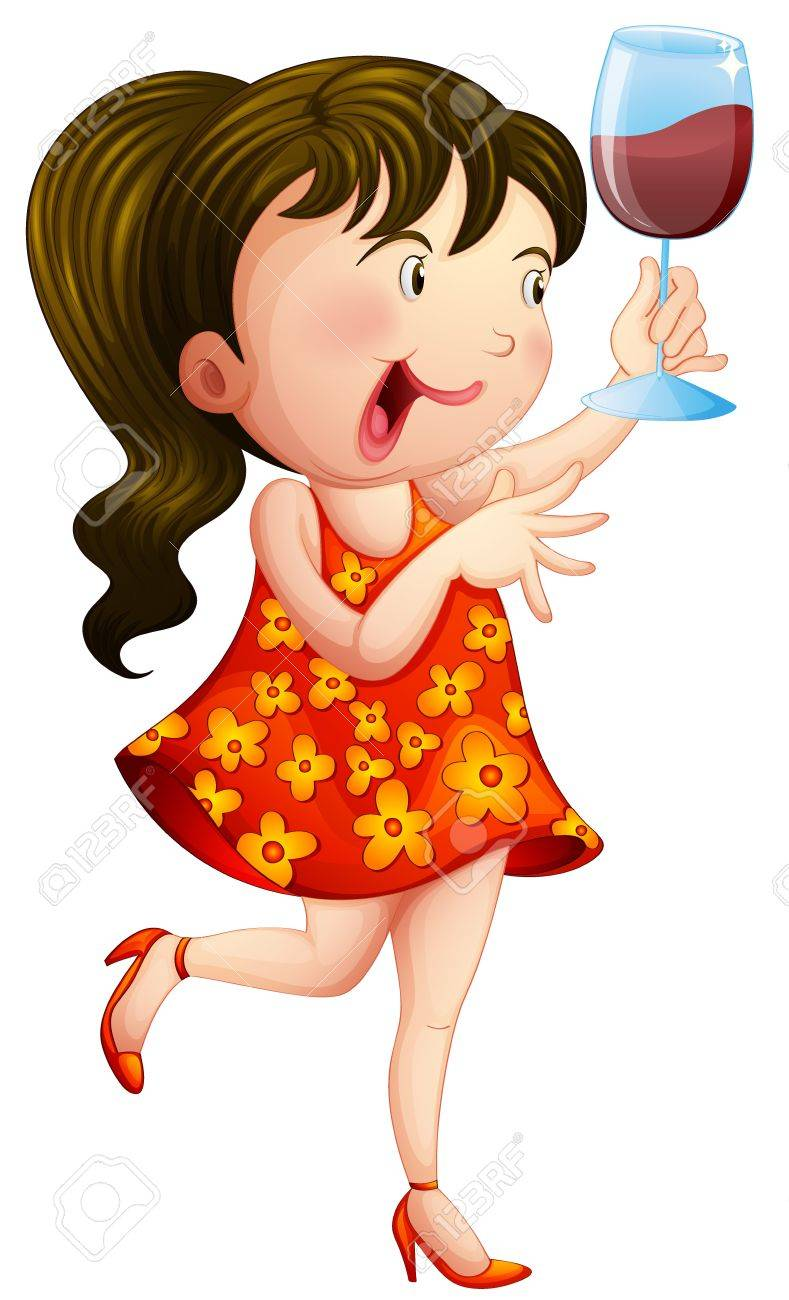 Illustration of a child bringing a glass of wine on a white background Stock Vector - 17889749