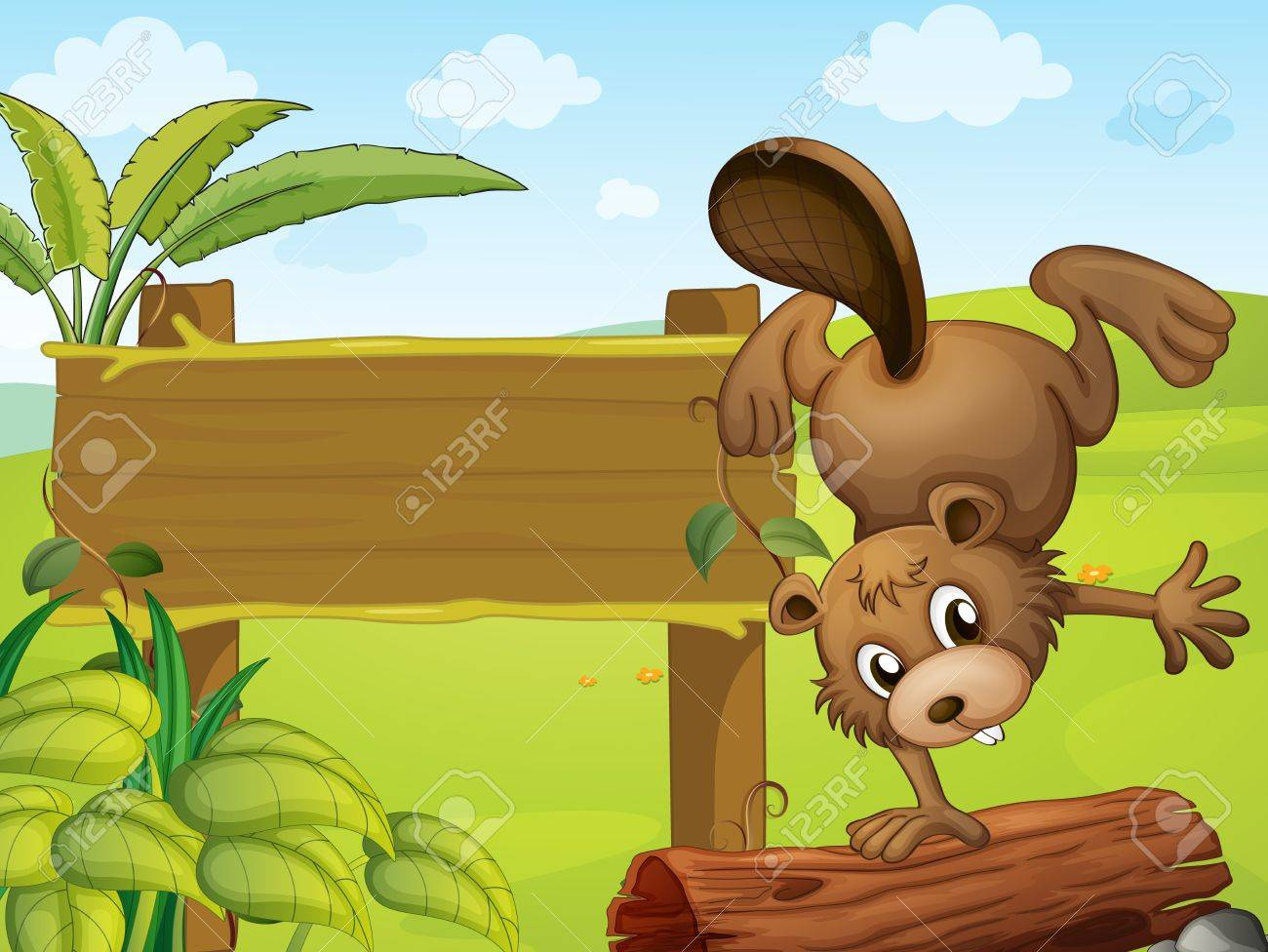 Illustration of a playful beaver Stock Vector - 17889604