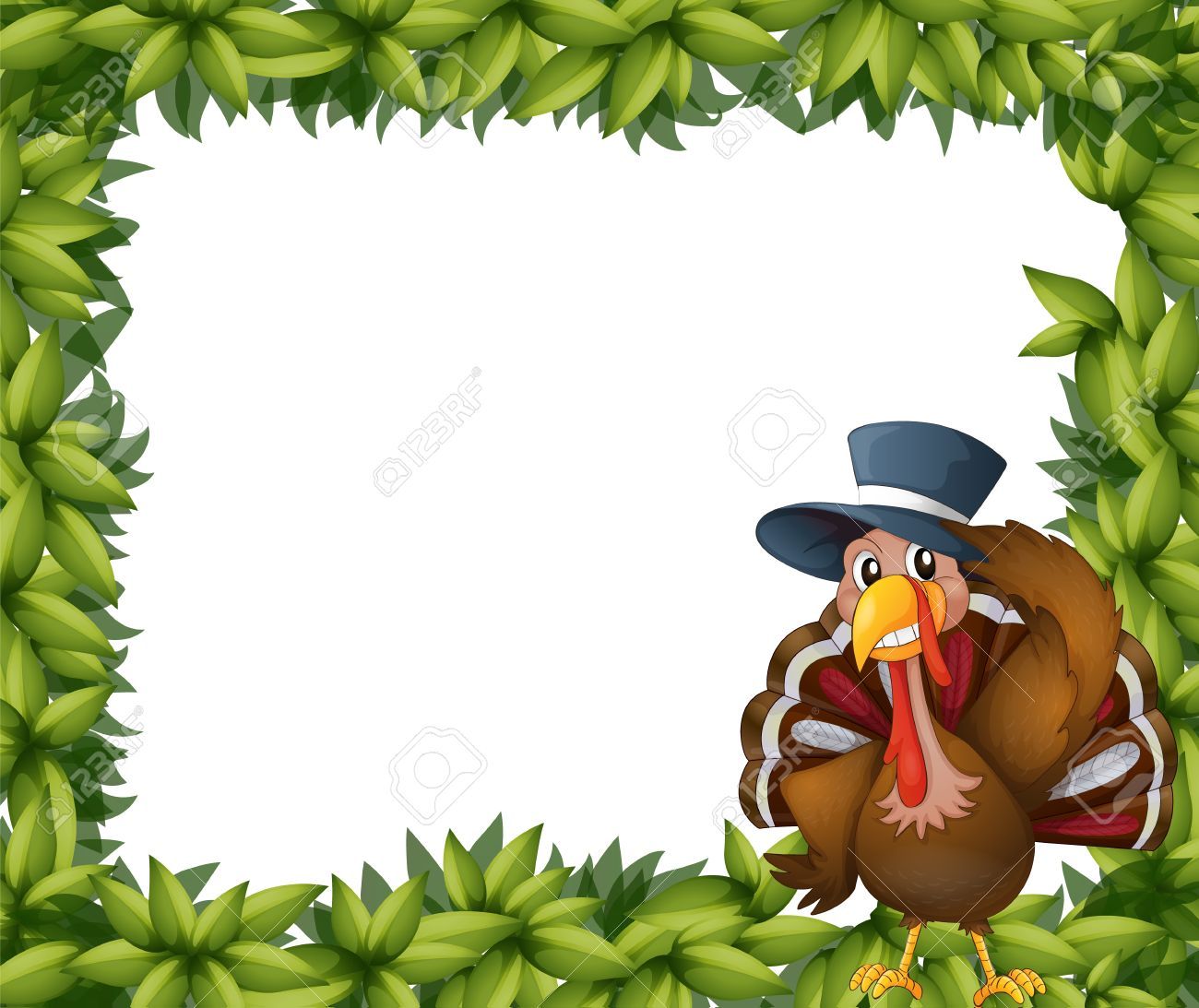 Illustration of a turkey and the leafy frame on a white background Stock Vector - 17890241