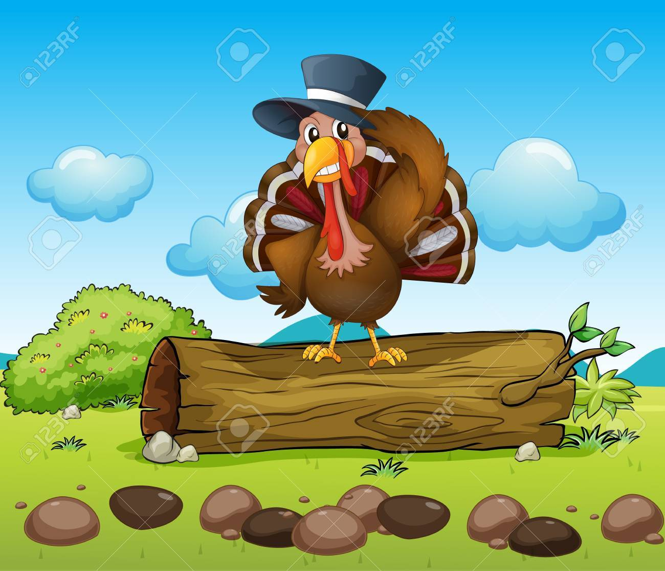 Illustration of a turkey above a log Stock Vector - 17889653