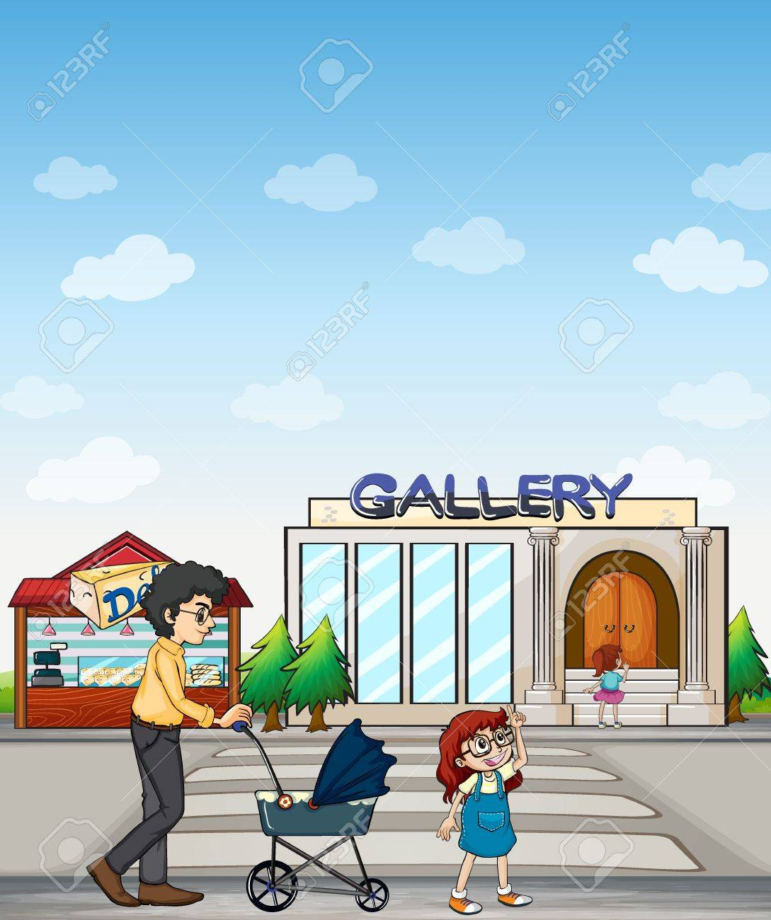 Illustration of a mother and her daughter walking together Stock Vector - 17891266