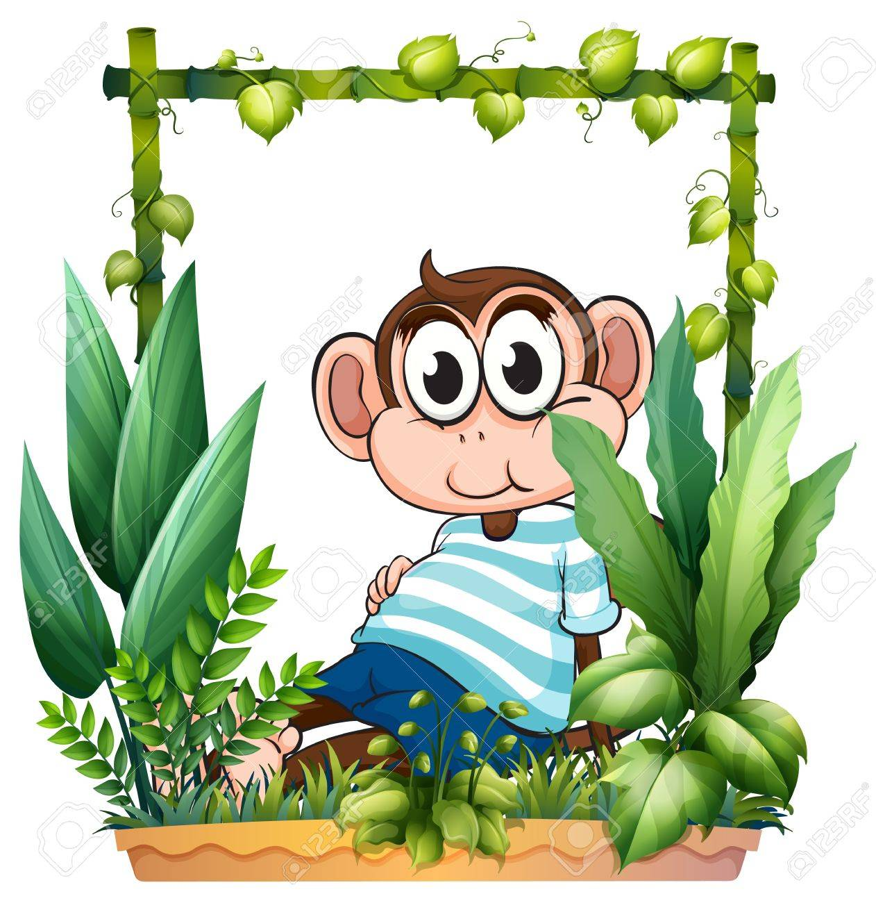 Illustration of a monkey with a blue shirt in the garden on a white background Stock Vector - 17892706