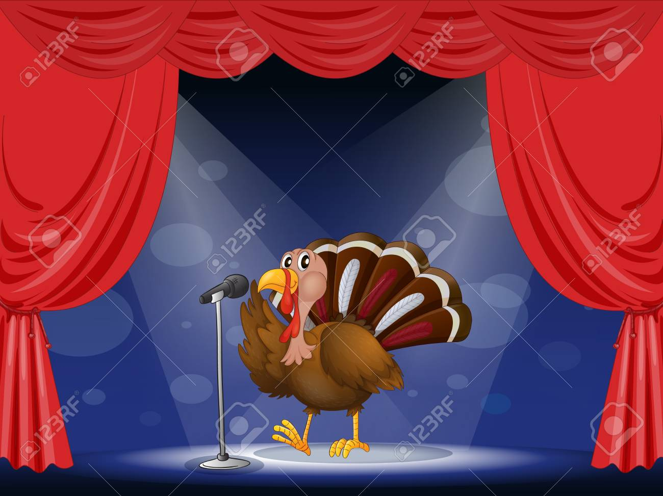 Illustration of a turkey in the limelight Stock Vector - 17892668