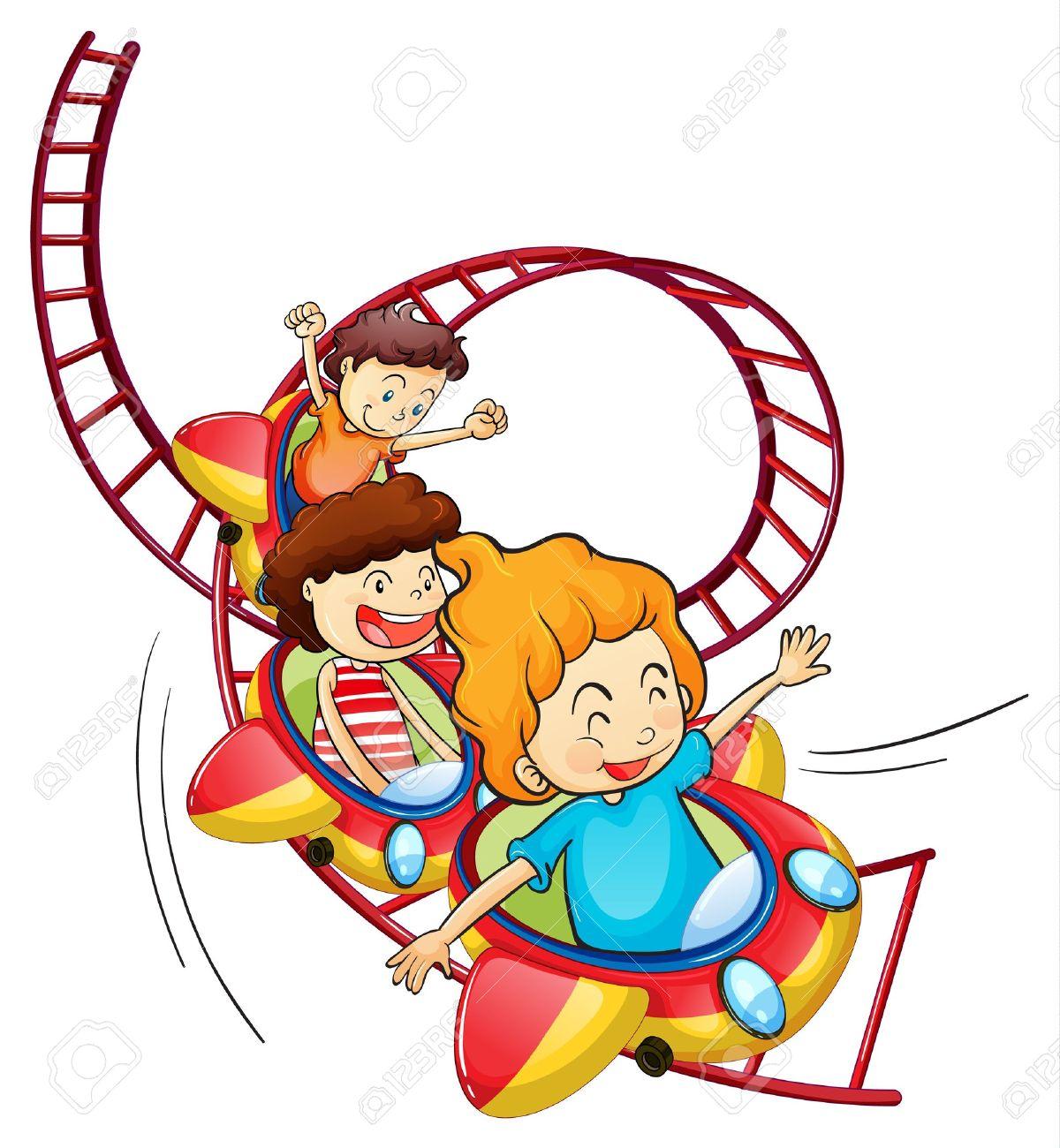 illustration of three children riding in a roller coaster on rh 123rf com roller coaster clip art free roller coaster clipart free