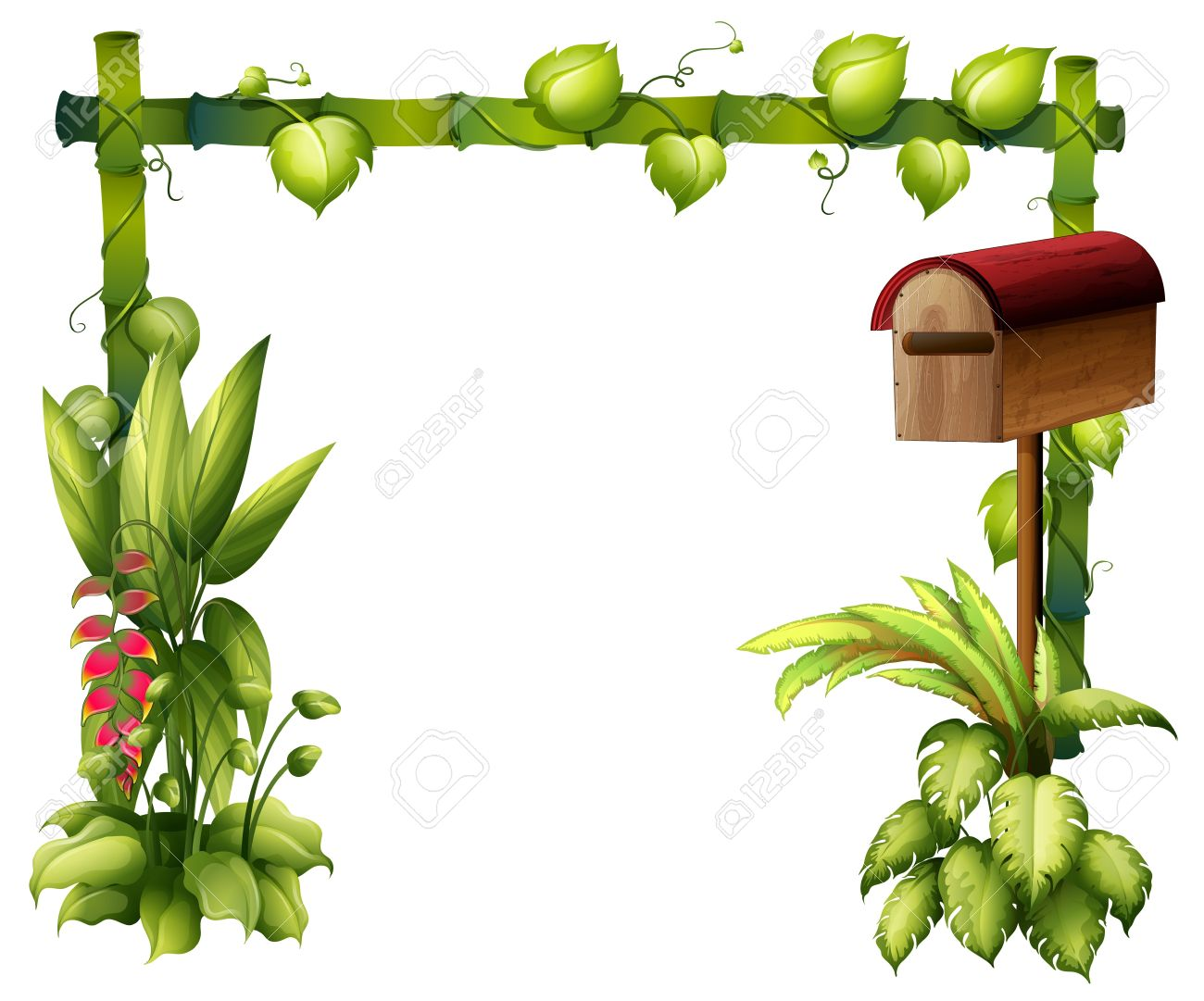 Illustration of a letter box and plants on a white background Stock Vector - 17892433