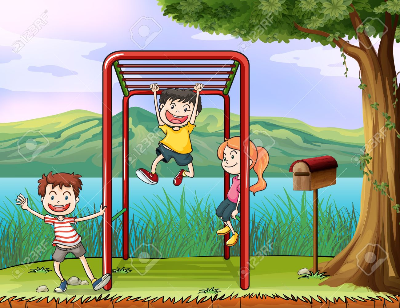 Illustration Of Kids Playing Monkey Bar And A Letter Box Royalty ...