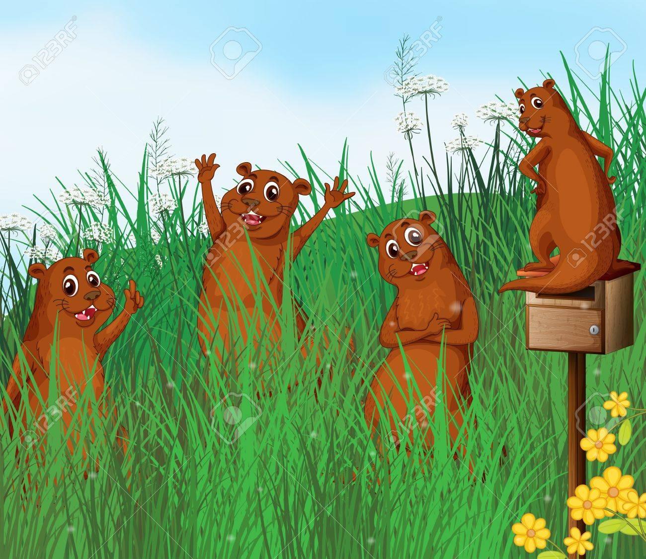 Illustration of wild animals near the hills Stock Vector - 17892449