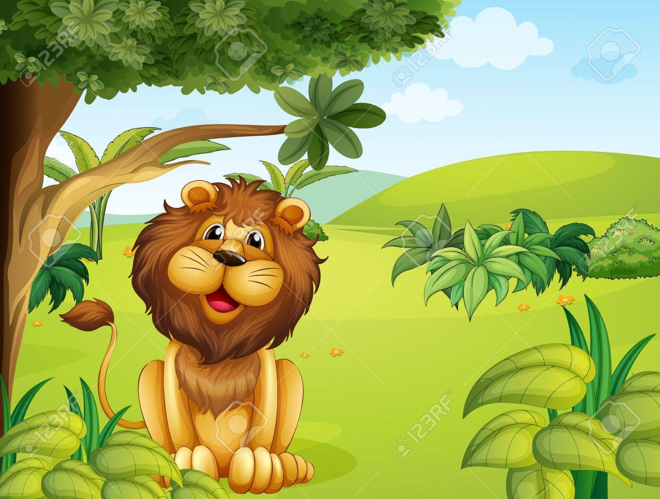 Illustration of a lion near the big tree Stock Vector - 17889327