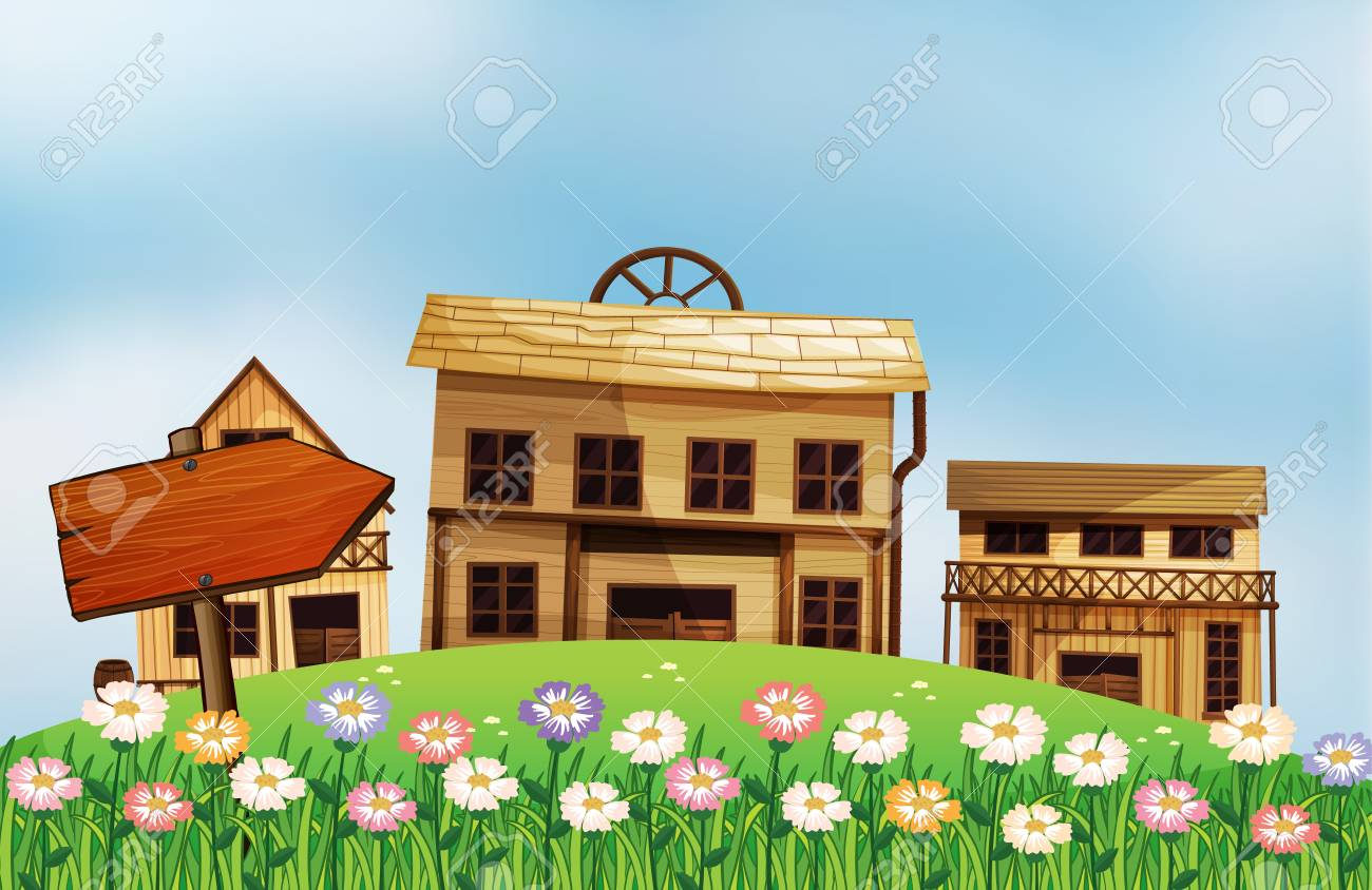 Illustration of an arrow and the houses Stock Vector - 17890235