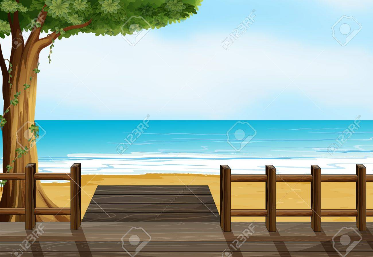 Illustration of a wooden bench on a beach Stock Vector - 17890230