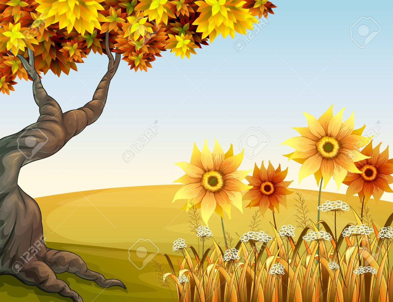 Illustration of an autumn view with flowers Stock Vector - 17896393